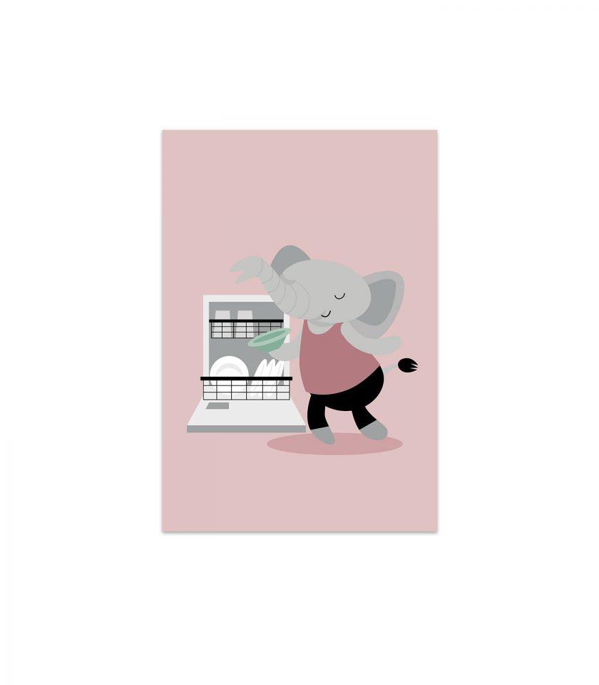 Elefanten Svante plockar in i diskmaskinen