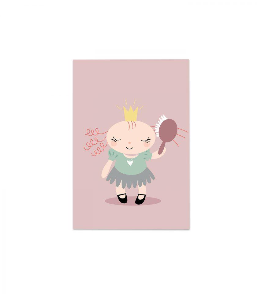 Prinsessan Majken borstar håret