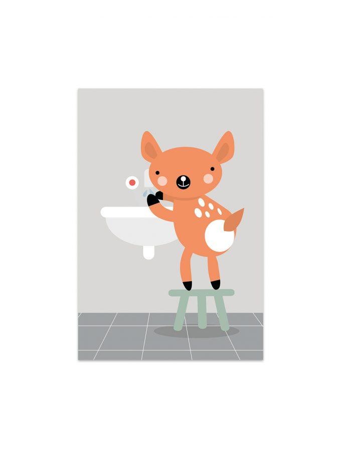 Rådjuret Wille tvättar händerna