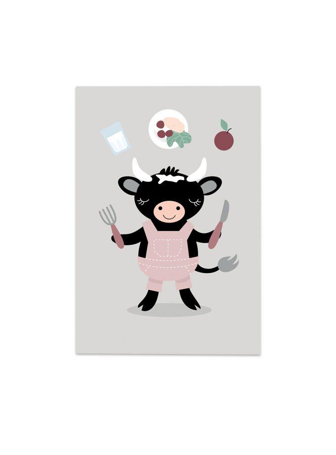 svart kossan doris äter mat